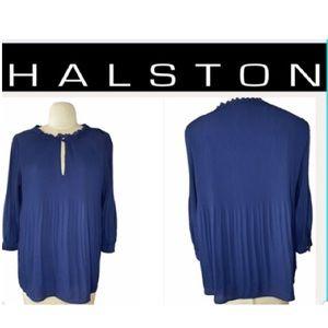 Halston Pleated Key Hole Blouse Black size small